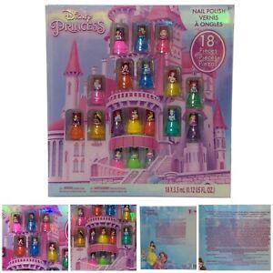 18 Pcs Disney Princess Non Toxic Peel Off Varnish Glittery Nail Polish Set