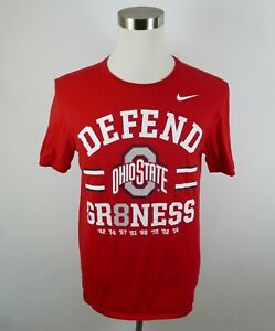 Ohio State Buckeyes Defend Gr8ness Mens Athletic Cut SS Red T Shirt Nike Large