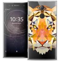 "Coque Housse Etui Pour Sony Xperia XA2 ULTRA (6"") Polygon Animal Souple Fin Tigr"