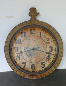 19th C cast iron & zinc clock trade sign, orig. painted surface  *