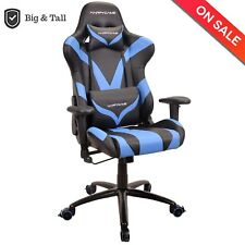 HAPPYGAME Racing Gaming Chair Oversized Computer Desk Chair PU Leather, Blue