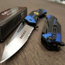 MTech BALLISTIC Assisted Opening Rescue Sheriff BLACK Glass Breaker RESCUE Knife