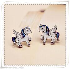 Ladies girls unicorn flying horse stud not dangle gift jewellery earrings new U1