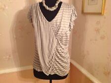 M&S Per Una Silver Grey V-Neckline Top/Frilled Cap Sleeve Size 14