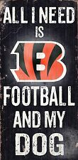 "CINCINNATI BENGALS FOOTBALL & my DOG WOOD SIGN and ROPE 12"" X 6""  NFL MAN CAVE!"