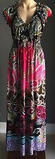 Gorgeous Multi Colour STRIKING Stretch Cap Sleeve Maxi  Dress L12/14
