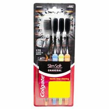 Colgate SlimSoft Charcoal Toothbrush SOFT - 4pc pack | 17x slim Bristle tip