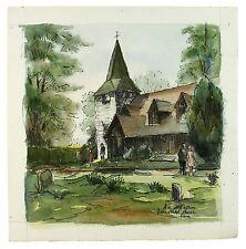 Greensted-B-ongar firmato senza cornice Paesaggio dipinto ad Acquerello M Harrison