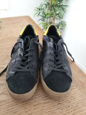 Mens Crime London Sneakers Black Leather Suede Bj793 size 8