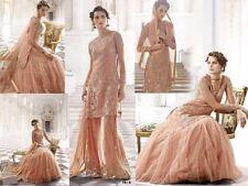 ZOYA Designer Wedding Peach Net Semi stitched Lehenga/Plazzo Style Salwar Suit