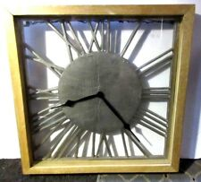 Large Wall Clock Vintage Silver Iron Style Square Metal Roman Numerals Home