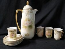 Prussia Royal Ruddlstadt White Rose Chocolate pot Tea set 4 cups and saucers