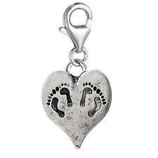 """Baby Heart Charm"" Clip on for Bracelet Charm Pendant for European Charm Jewe..."