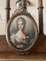 Late 19th Century Oval Minature Portrait Of A Young Lady In An Ornate Frame