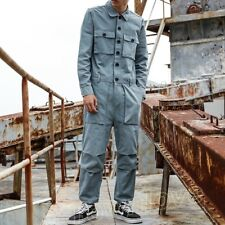 Men Retro Casual Pockets Overall Jumpsuit Jackets Leggings Pants Suits Dungarees