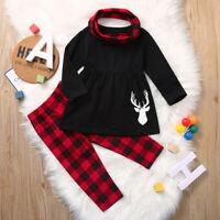 2PCS Toddler Baby Girl Kid Christmas Long Sleeve Dress Top Plaid Pants Scarf Set