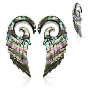 PAIR Organic Abalone Angel Wing Tapers Plugs Expanders Gauges Body Jewelry
