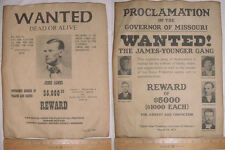 2 BIG 11 x 14 Western Wanted Posters -James-Younger Gang & Jesse James, old west