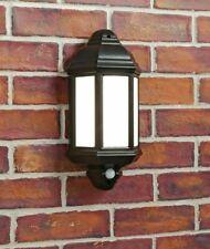 Black PIR Half Lantern Security Light OUTSIDE IP44 POLYCARBONATE OPAL DIFFUSER