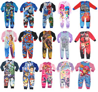Official Kids All in One Boys Girls Fleece Character Childrens Pyjamas 2 - 10 Yr