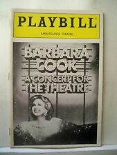 BARBARA COOK: A CONCERT FOR THE THEATRE Playbill WALLY HARPER NYC 1987