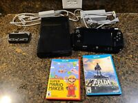 Nintendo Wii U Deluxe 32 GB Black System Lot w/ 2 Games Breath of the Wild Mario