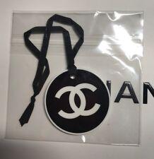 CHANEL VIP GIFT plastic logo charm black-white plastic round charm with logo NEW