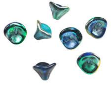 12 Metallic Blue Peacock Three Petal Glass Flower Beads 12MM