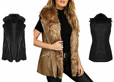 Women's Faux Leather Zip Gilets Bodywarmers Coats & Jackets