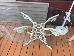Vintage Cast Aluminum French Rococo Style Ornate Dining Pedestal Table And Glass