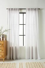 Anthropologie  50 X 84 Stitched Linen Curtain Light Grey w/Gray Stitch One Panel