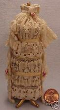 Dollhouse Miniature Dressform In Tan With Rose Flowers