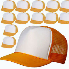 Wholesale Lot 12 Trucker Hats - NEW - GOLD YELLOW Mesh Adjustable Snapback CAPS