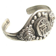 Huge Nepal 925 Silver Plated Carved Kalachakra Big Sacred Dorje Cuff Bracelet