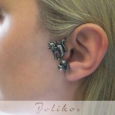 JoliKo Ohrklemme Ohrringe Ear cuff Katze Chat Noir Wolle Silber plattiert LINKS