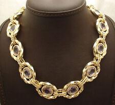 "18"" Technibond Genuine Amethyst Gemstone Necklace 14K Yellow Gold Clad Silver"