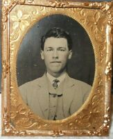 Sharp image 1/9th size Tintype of a young man in a Brass frame