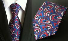 Blue and Red Patterned Silk Tie