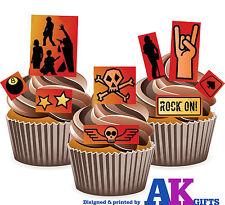 24 x Rock Punk Gotico Teschio Musica Mix Commestibili Decorazioni per torta facile da tagliare intorno