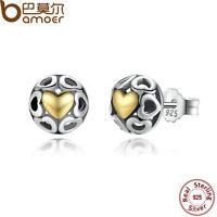 Bamoer Solid  S925 Sterling Silver Only My LOVE Stud Earrings For Women Jewelry