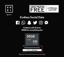 Vodafone/Voxi 4G Sim Card, Worth £20 / 30GB - Endless Social Data, Calls, Texts