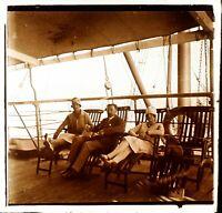 Viaggio IN Egitto Paquebot c1925, Foto Stereo Vintage Placca Lente VR4L7n2