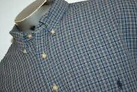 9642-a Mens Polo Ralph Lauren Dress Shirt Size 3XLT TALL Blue Plaids