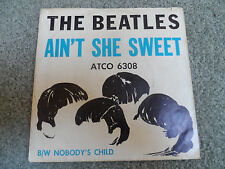 The Beatles Original 45 RPM Record + Rare Sleeve Ain't She Sweet Atco 6308  VG