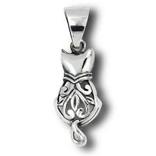 Sterling Silver Ornate CAT Charm Pendant - Rear View