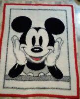 Vtg Biederlack Of America Mickey Mouse Reversible Small Blanket