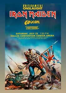Iron Maiden Reproduction Concert Poster Wall Art Dallas Vintage Metal Picture