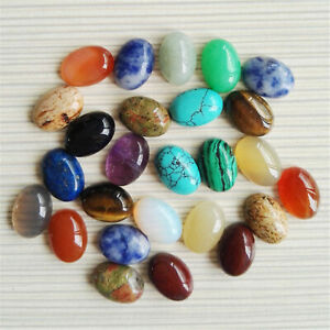 5PCS 25X18mm Oval Cabochon Natural Stone Beads Assorted DIY for Jewelry Making