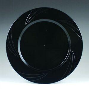"""Newbury Black Plastic Salad Plates 7.75"""" 15 Pack Black Plastic Tableware"""