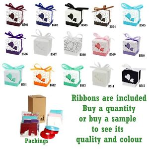 Classic Lidded Wedding Favour / Gift Boxes Coloured Love heart Decoration